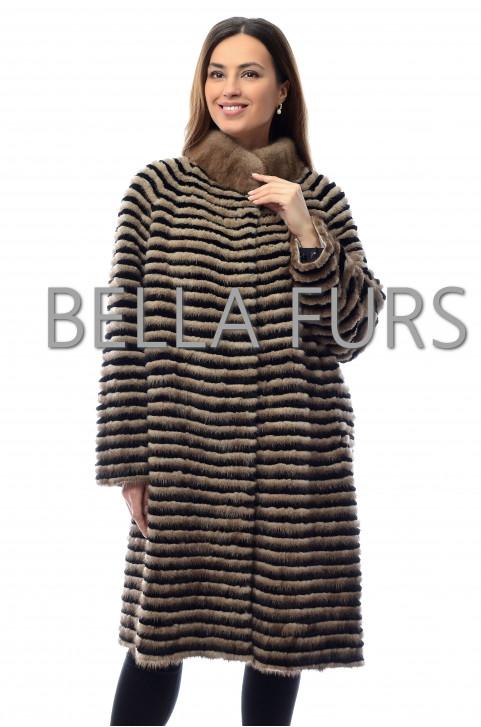 Трикотажное пальто из меха норки