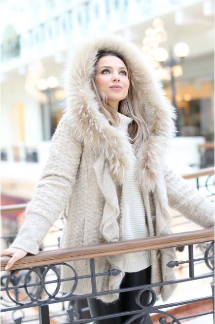 Итальянское вязаное пальто с мехом песца