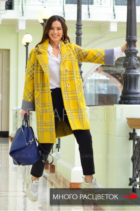 Пальто демисезонное, жёлтая клетка
