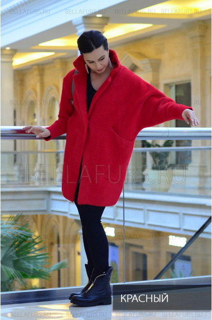 Пальто oversize демисезонное, цвет красный