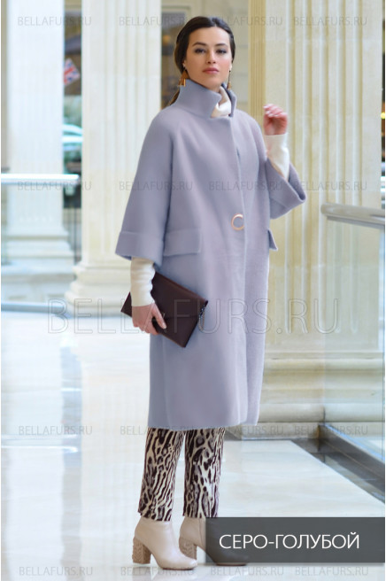 Пальто oversize демисезонное, цвет серо-голубой