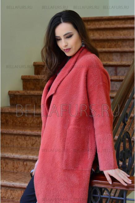 Пальто oversize демисезонное, цвет коралловый.