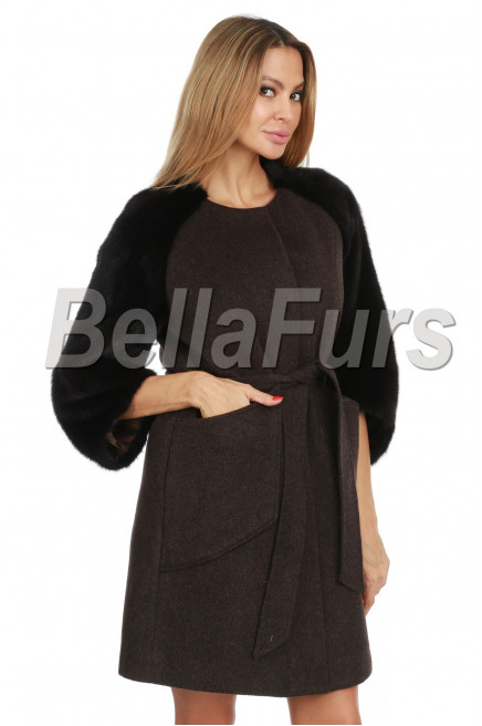 Кашемировое пальто с норковыми рукавами