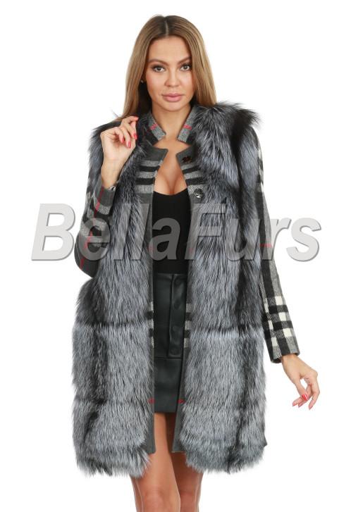 Пальто с чернобуркой в клетку