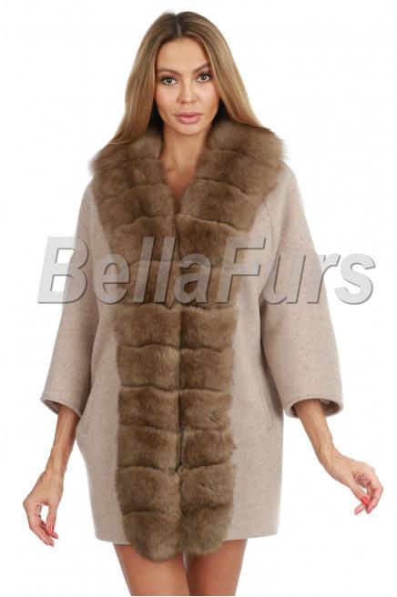 Кашемировое пальто с финским  песцом