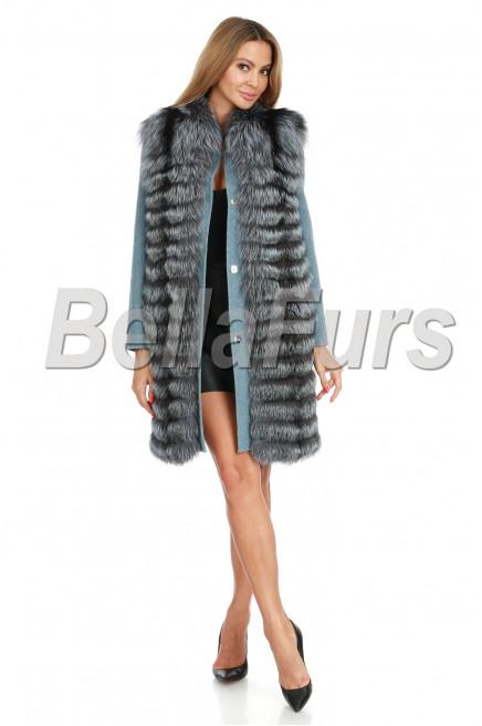 Кашемировое пальто с чернобуркой
