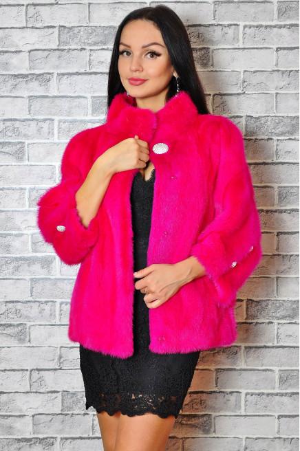 Розовая норковая шуба