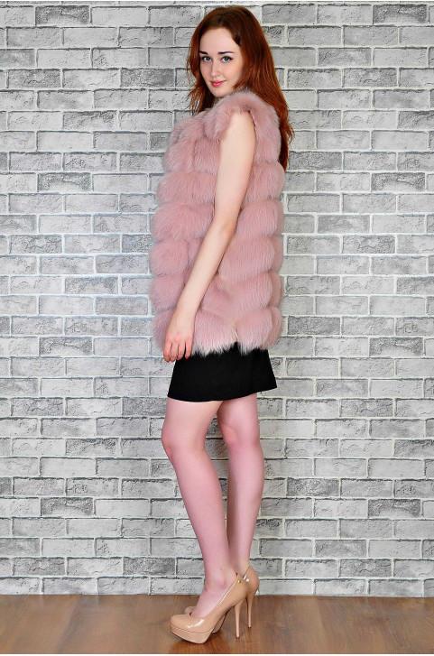 Короткая песцовая жилетка розовая