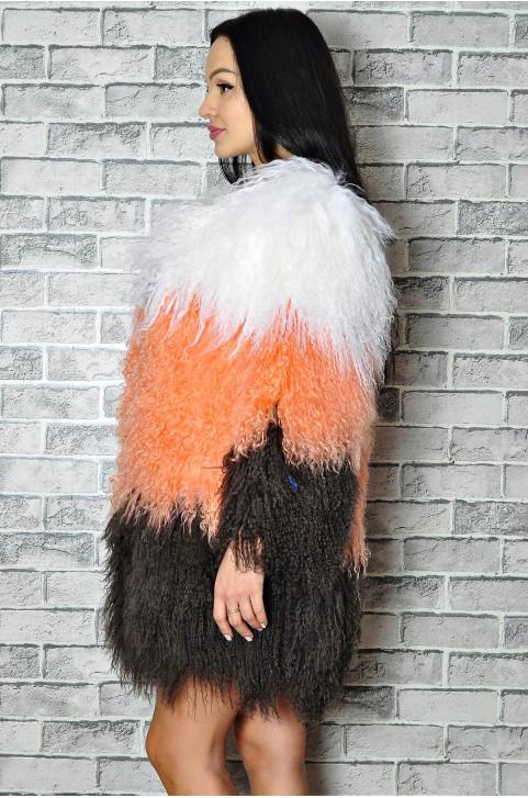 Полушубок из ламы разноцветный