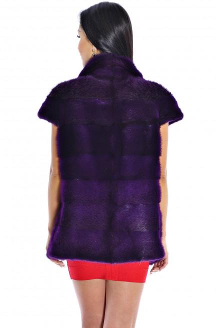 Жилет из меха норки фиолетовый