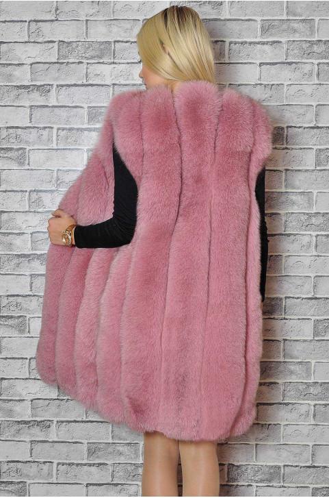 Розовая жилетка из песца