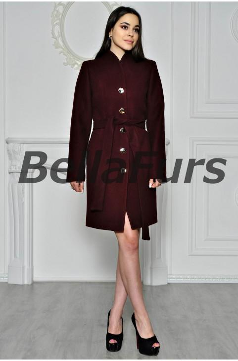 Демисезонное  пальто бордовое