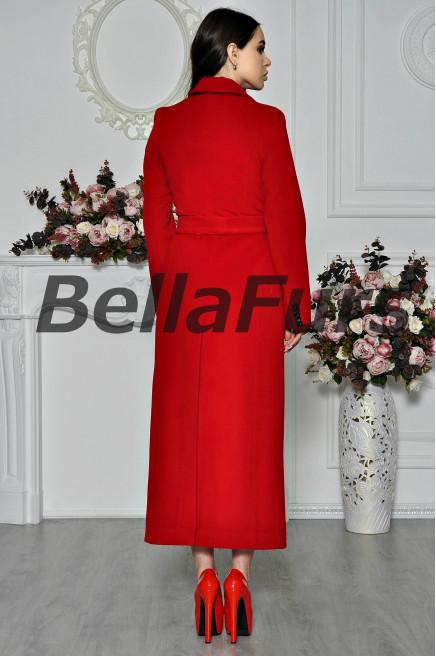 Классическое длинное красное пальто