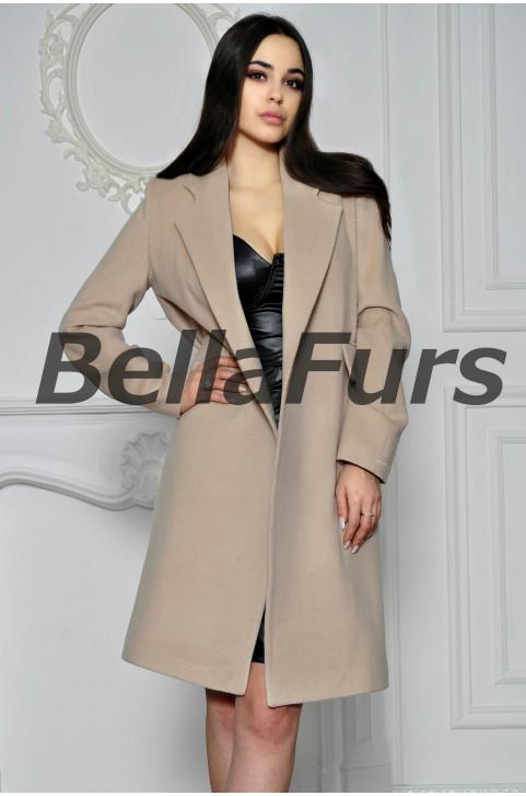 Бежевое пальто из кашемира