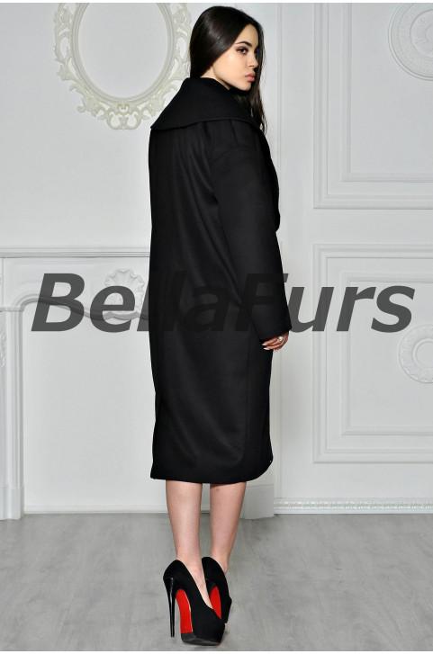 Пальто из шерсти чёрное