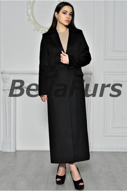 Классическое длинное чёрное пальто