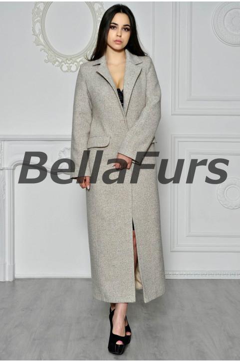 Светлое длинное пальто