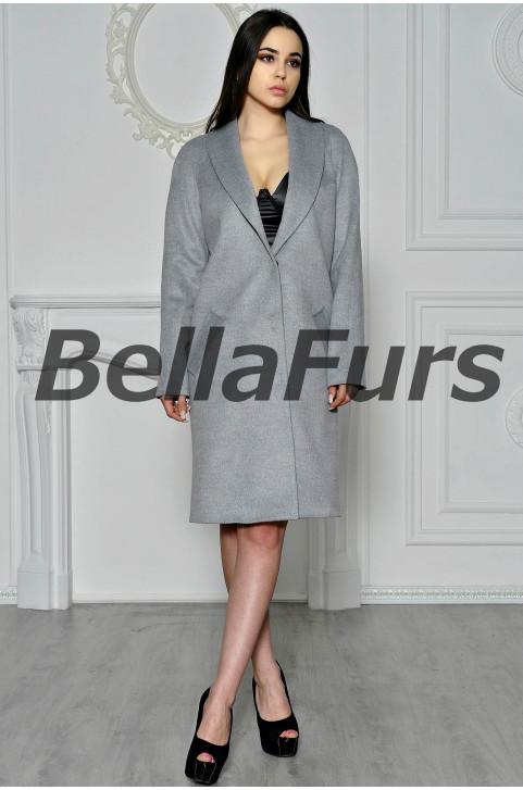 Пальто-халат из кашемира серое