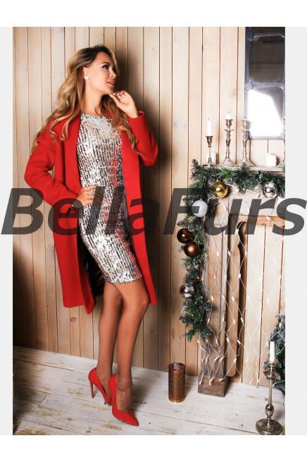 Пальто-халат красное
