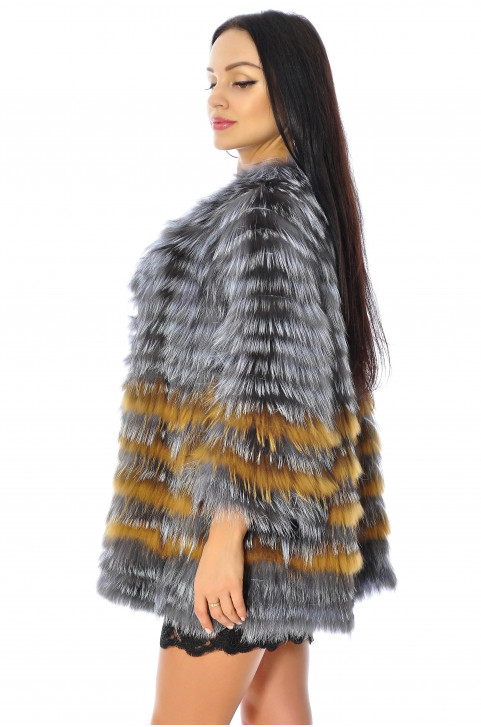Шуба из вязаной чернобурки цена
