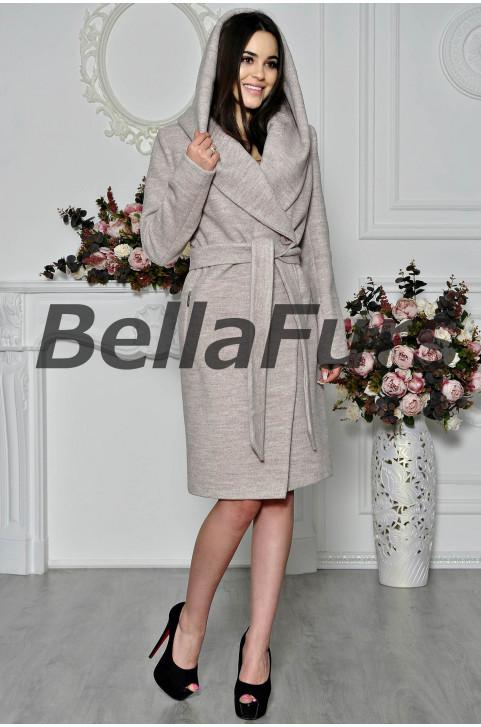 Весеннее пальто с капюшоном женское