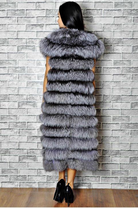 Длинный жилет меховой