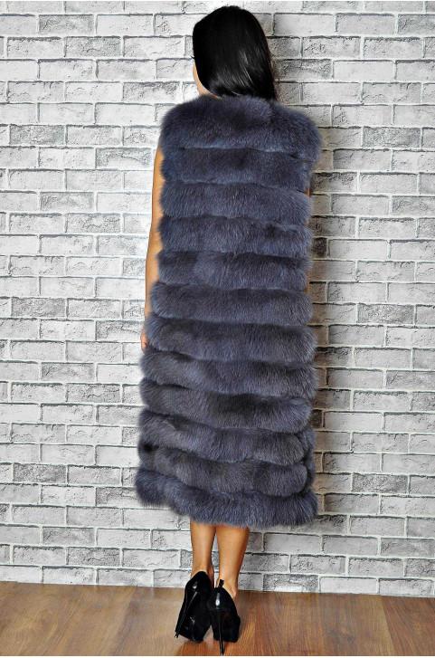 Длинная меховая жилетка