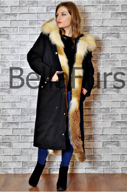 Длинная зимняя женская куртка пальто