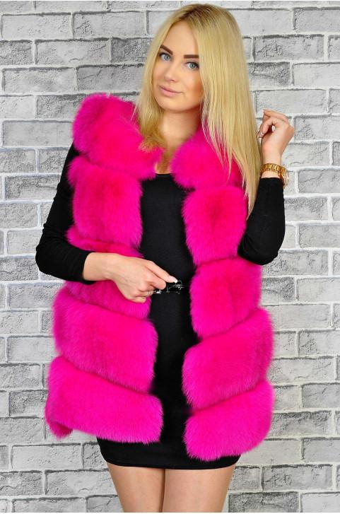 Жилет меховой розовый