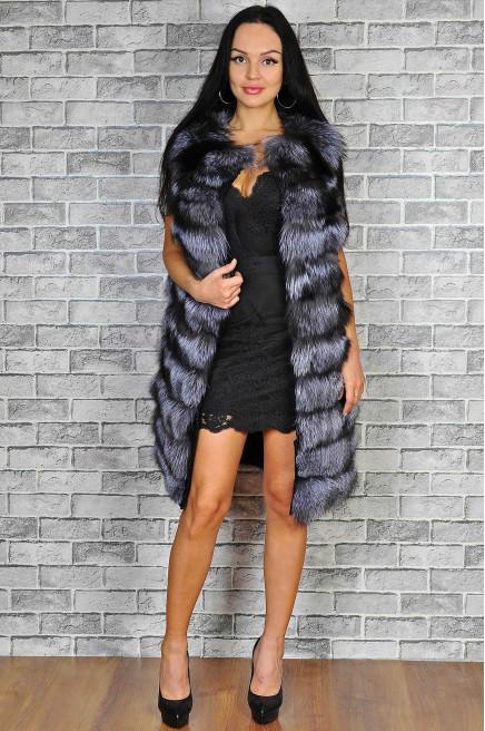 Женская меховая жилетка чернобурка