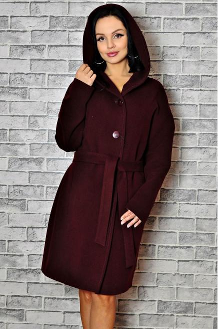 Болоневое зимнее пальто женское с капюшоном