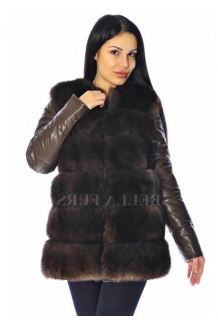 Кожаная куртка с меховым жилетом