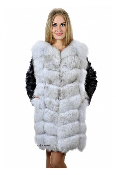 Кожаная куртка жилетка с мехом