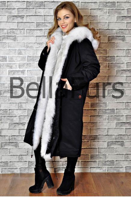 Длинное зимнее пальто с капюшоном женское