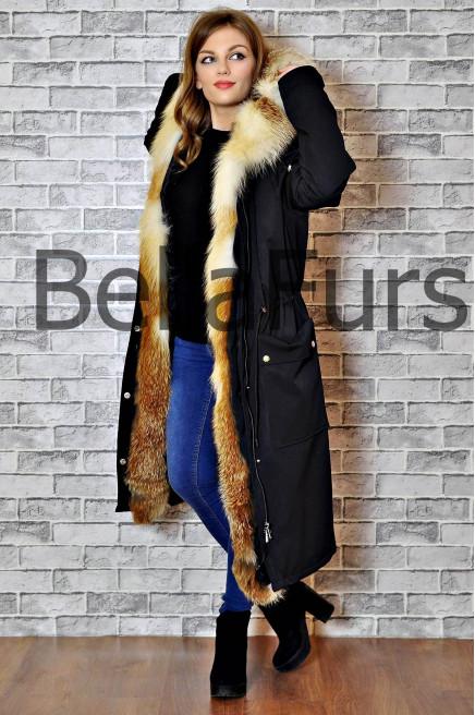 Зимнее пальто женское с меховым капюшоном