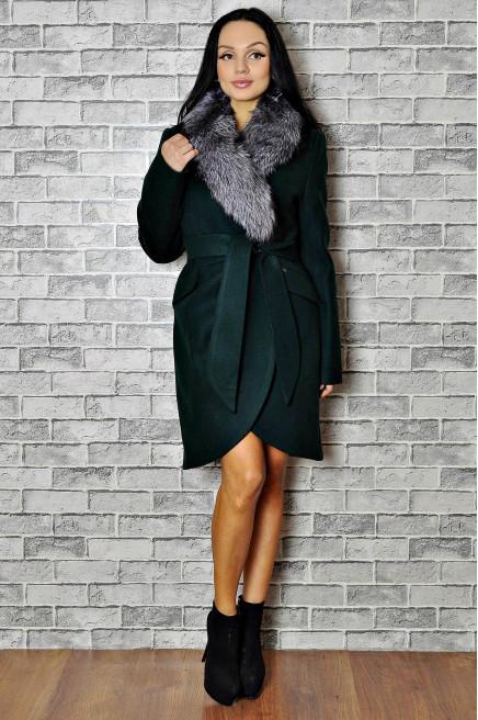 Драповое пальто зимнее с мехом