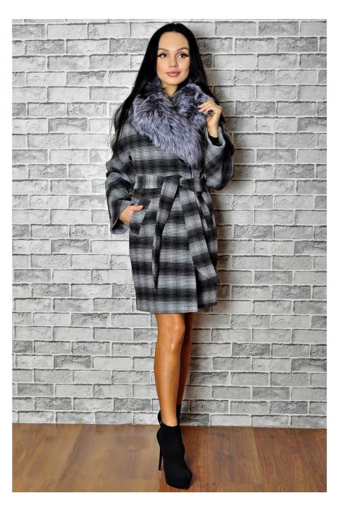 Зимнее пальто серое с мехом