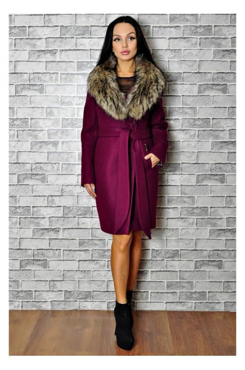 Зимнее пальто из кашемира с мехом