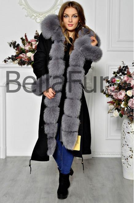 Зимнее женское пальто на меховой подстежке