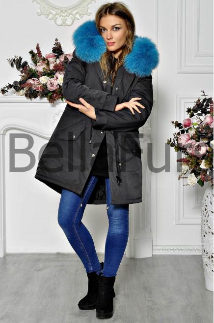 Зимнее пальто из плащевки с мехом