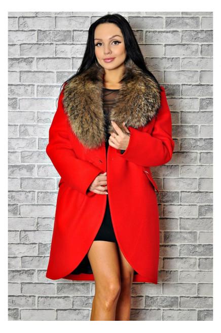 Зимнее женское пальто с мехом енота