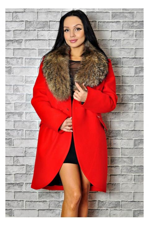 Пальто зимнее с меховым воротником недорого