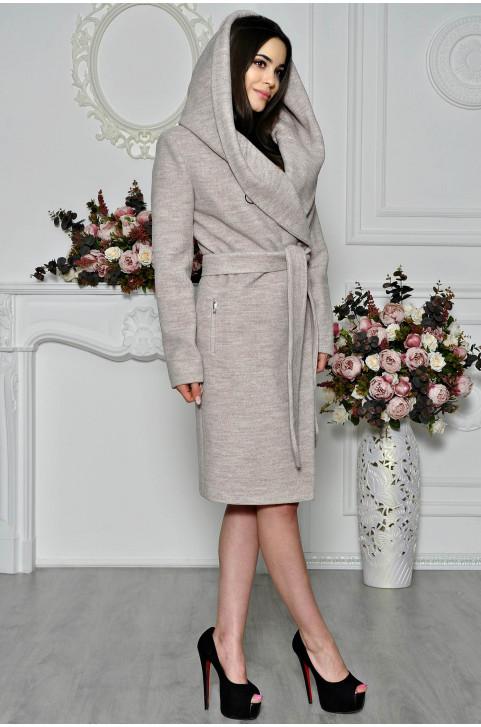 Пальто женское зимнее шерстяное с капюшоном