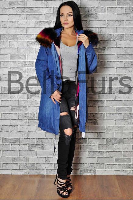 Джинсовое пальто с мехом женское