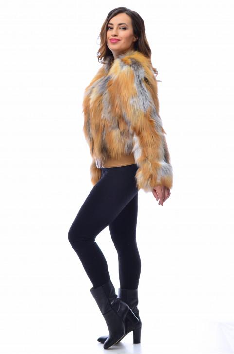 Бомбер из меха лисы
