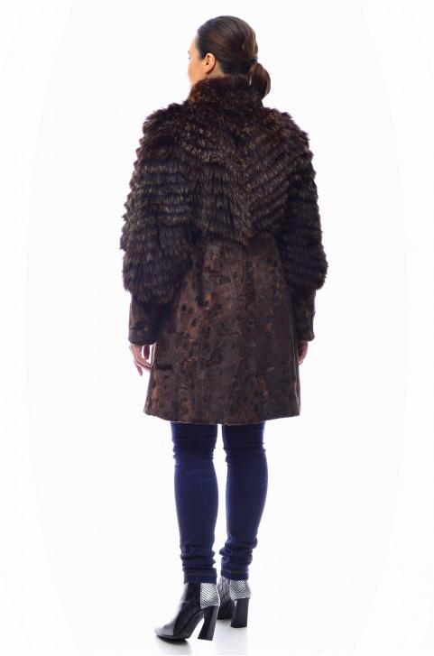 Комбинированная шуба из меха лисы и стриженной норки