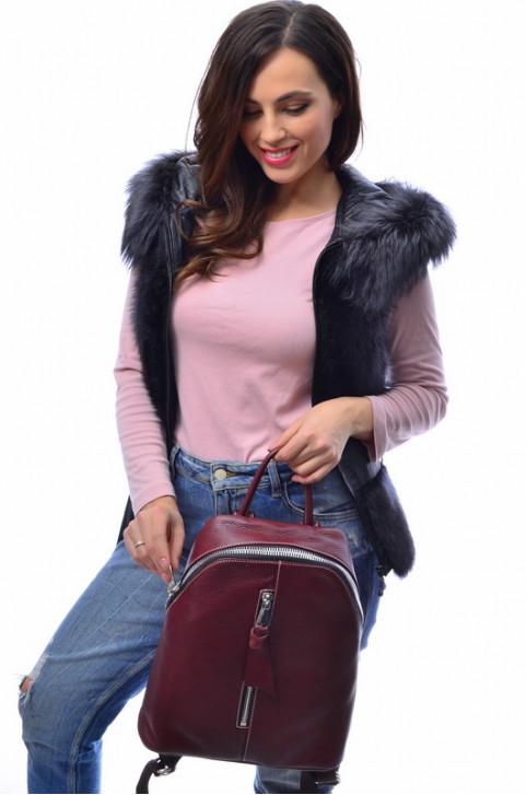 Кожаный жилет с мехом енота