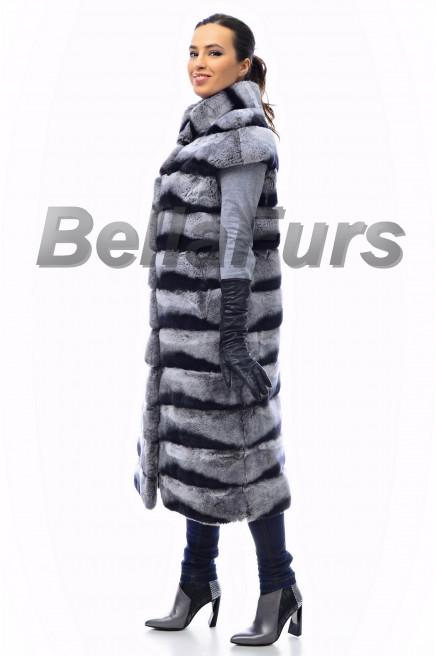 Длинный меховой жилет женский